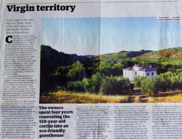 Press reviews of Casa Olea hotel Andalusia Spain