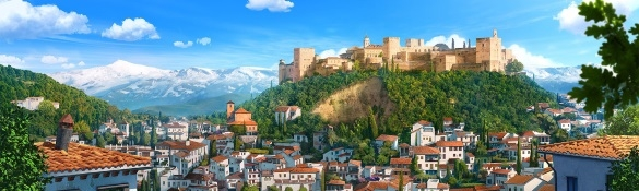Alhambra view Granada Spain from Tadeo Jones film