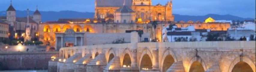 view of the mezquita and roman bridge cordoba spain