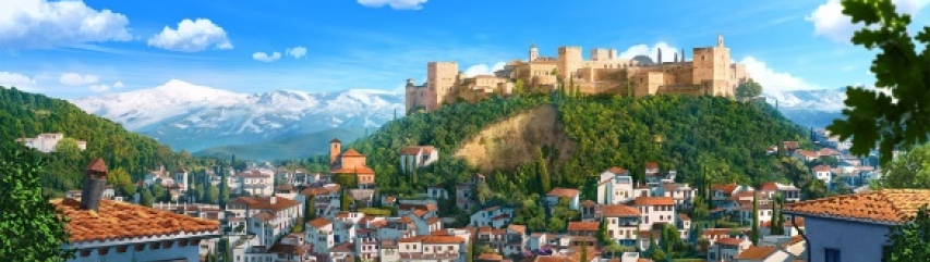 Alhambra view Granada Spain from Tadeo Jones film