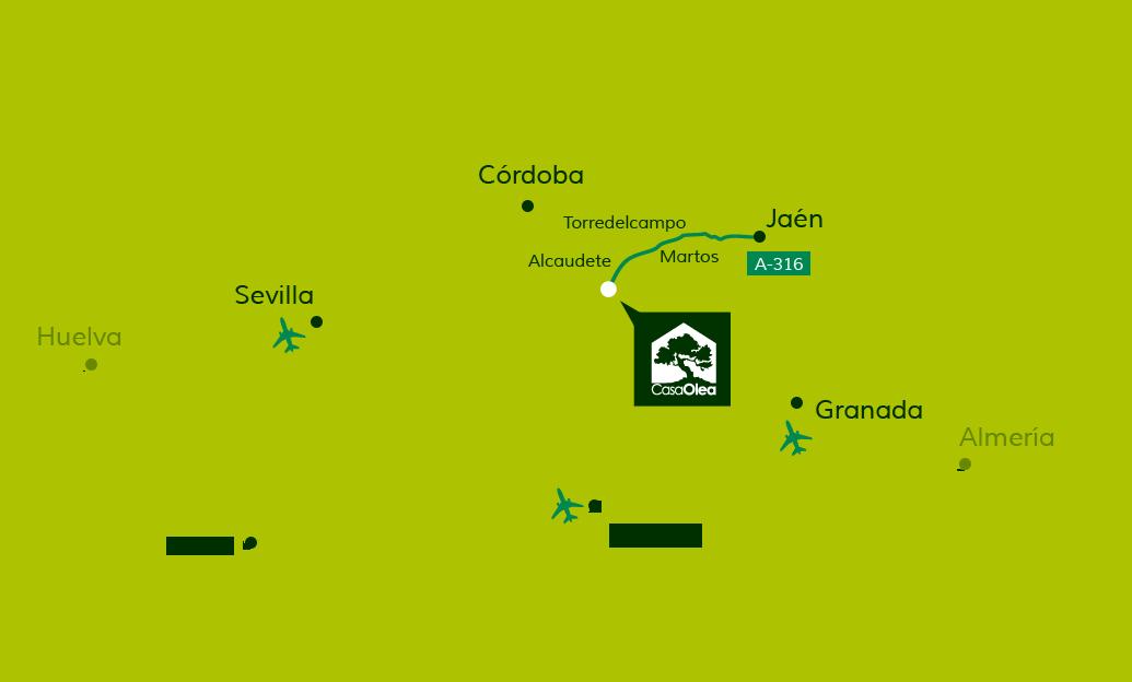 Wegbeschreibung zur Casa Olea von Jaén