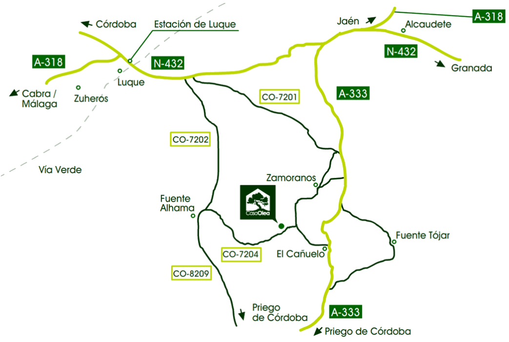 Location of Casa Olea in Subbetica