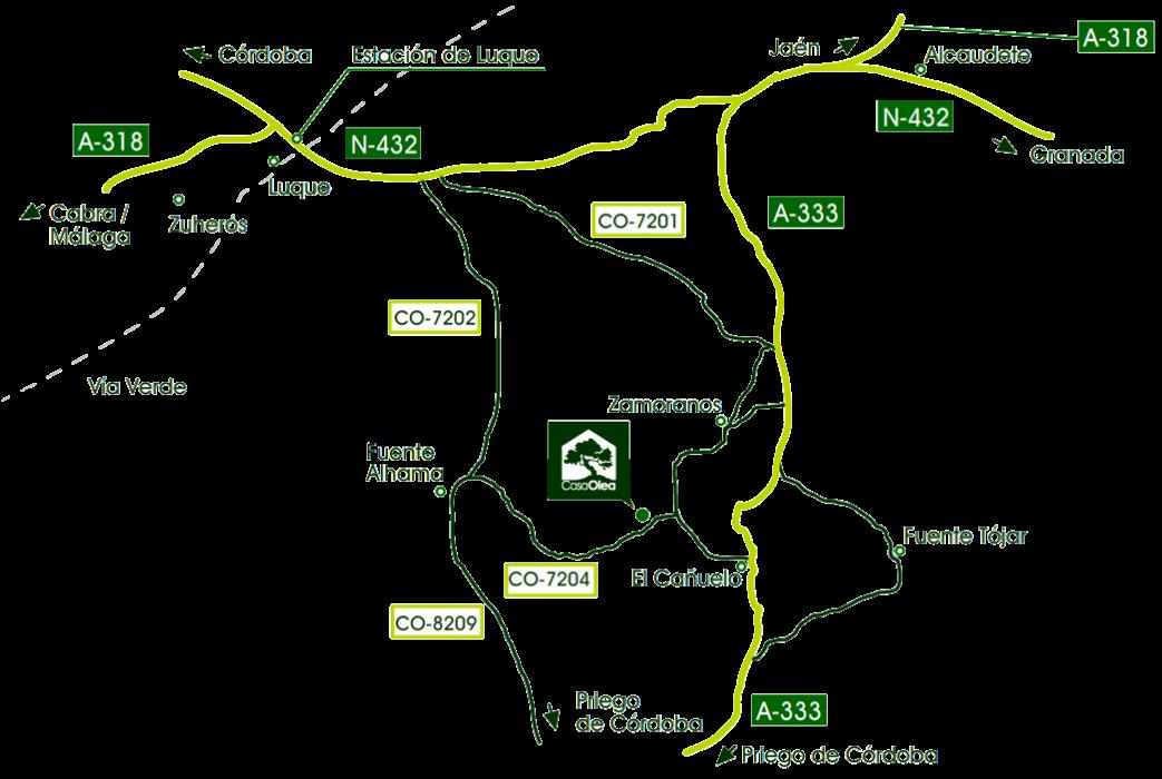 Localización de Casa Olea en la Subbética